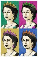 Queen Elizabeth II Multicolor Pop Art Print Mural inch Poster 36x54 inch
