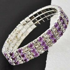 Charm Wide Rhinestone Silver Womens Purple Crystal Stretch Chain Tennis Bracelet