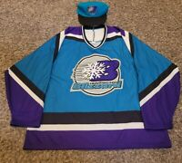Vtg Huntington Blizzard Heavyweight ECHL Hockey Jersey with Hat...