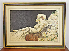 VTG Louis Icart Colored Engraving on Resin Loves Blossom 1937 Reproduction