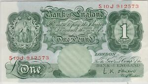 B273 L.K.O'BRIEN 1955 ONE POUND S10J BANKNOTE IN NEAR MINT CONDITION.