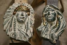 Male and Female Native American Head Plaques - Stone, Copper, and Brass