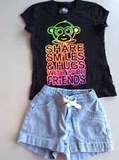 justice monkey t shirt size 5 6 7 with denim Old Navy shorts size 5 Share Smiles