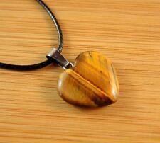Tigers Eye Natural Gemstone Heart Pendant on a Black Cord Necklace #795