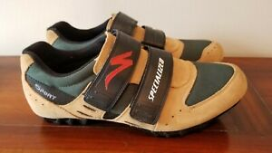 Specialized Mens 45 Hook & Loop Sport Cycling Shoes Sneakers Tan Green 610-1245