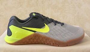 Men Nike Metcon 3 Training Athletic Shoes Dark Gray/volt/pale Gray 852928-004