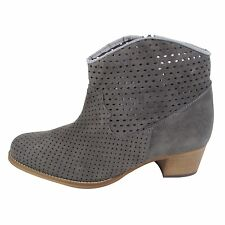 Size 8 Women's Grey Suede Ankle BOOTS With Wood Block Heel
