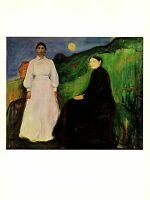"""1970 Vintage MUNCH """"MOTHER AND DAUGHTER"""" COLOR offset Lithograph"""