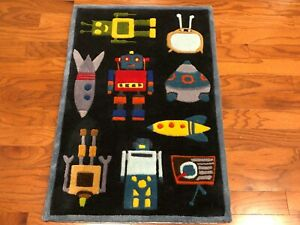Momeni 2 x 3 Rug, Lil Mo Whimsey ROBOTS,SPACE SHIPS,ROCKETS... LMJ-1 Steel Blue