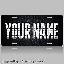 Text Name Custom License Plate Auto Car Tag BLK DIAMOND PLATE
