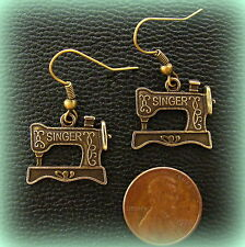 Featherweight SINGER Sewing MACHINE Earrings Jewelry - Quilting - Antique style