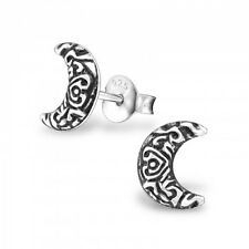 Sterling Silver 925 Patterned Crescent Moon Stud Earrings