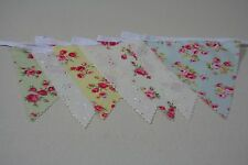 Meadow Rose & Broiderie Anglais Mix cotton Fabric single side Bunting 12m