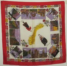 "TERRIART Red, Multi Souvenir of Norway 27"" Square Scarf-Vintage"