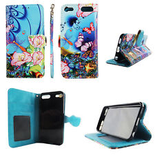 Flip Wallet Case Butterfly Bluis for ipod touch 5 6 Gen Cash id Slot Stand Cover