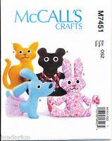 MCCALL'S SEWING PATTERN 7451 BABY STUFFED SOFT ANIMAL TOYS BEAR, CAT, RABBIT DOG