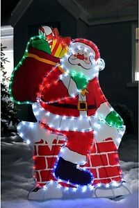 Santa Chimney LED Silhouette Rope Light Up Outdoor Christmas Decoration New
