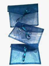 Organza Set {3}  Teal Turquoise Party Favor Jewelry Pouch Mesh Bag Cover NEW !!