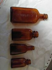 Vintage Capudine Glass Amber Bottles For Headaches & other medical Bottles