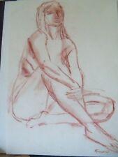 FEMALE NUDE SITTING by Ruth Freeman  CONTE 14 1/4 X 17 3/4