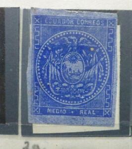 Ecuador 1865-81 Medio Real Imperf Blue Mint