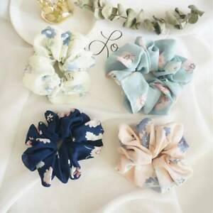 Girls Summer Floral Hair Scrunchies Bun Ring Elastic Dance Scrunchie Hair Ties