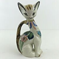 VTG D Casa Mexico Hand Painted Pottery Cat Flower Folk Art Kitty Figurine MARKED