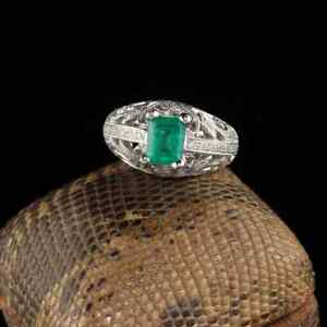 Vintage Estate 925 Sterling Silver Cubic Zirconia & Green Colombian Emerald Ring