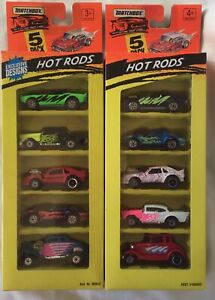 Matchbox - TWO 5-Pack HOT RODS Sets from 1994/95. '57 Chevy in each set MIB