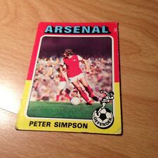 Topps 1975/76 Red/Grey Back - Card #177 Peter Simpson of Arsenal
