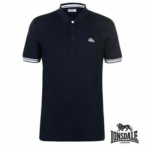 Mens Navy Blue LONSDALE casual sports Polo shirt sizes S-XL