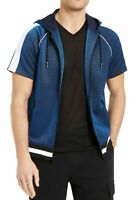INC Mens Disco Jacket Blue Size Medium M Lurex Varsity-Trim Zip Hoodie $65 274