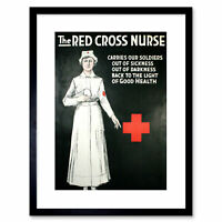 Vintage Ad First Aid Red Cross Nurse Soldiers Framed Art Print 9x7 Inch