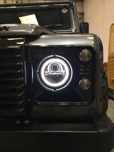 """Wipac Land Rover Defender Pair 7"""" LED Black Headlights S7097LED"""