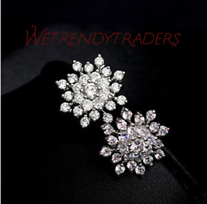 Fashion Snow Flakes Earrings Crystal Rhinestone Womens Wedding Bridal Jewellery