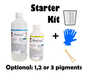 Epoxy Resin Starter Kit Art Clear Pearlescent Colour Pigments 2:1 Ratio Free Cup
