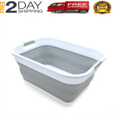 Collapsible Plas 00004000 tic Laundry Basket Foldable Pop Up Storage Container Tub Grey