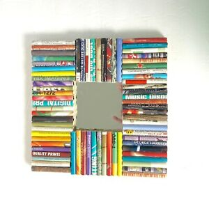 Rolled Magazine Mirror Framed Wall Art IKEA Malma Colorful Recycled Square