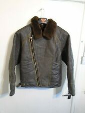 VINTAGE DISTRESSED SHEEPSKIN LEATHER FLYING JACKET SIZE 36 OR XS CLASSIC CAR