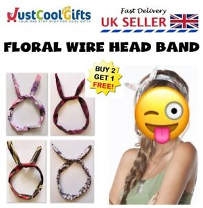 Vintage Retro Printed Wire Headband Floral Hair Band Head Scarf Wrap Bow UK