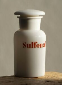 Milk Glass Apothecary Bottle for Sulfonal (Poison). Ground Pontil. Rare.