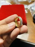 """18K Fine Saudi Gold Two Tone Band Unisex Fits Ring 6.5""""-7"""" USA Seller"""