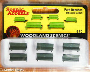 Woodland Scenics HO #1879  -  Park Benches (Plastic Parts) 6 Benches (1:87th)