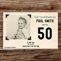 10 *PERSONALISED* vip VINTAGE STYLE birthday PARTY INVITATION 50th/60th/70th