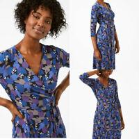 WHITE STUFF 'Anet' Jersey Wrap V Neck Blue Lilac Spot Day Midi Dress 8-18