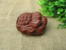 1pc Yixing Purple Clay Tea Pet Handmade Lotus Leaf Toad Tea Ceremony Decoration