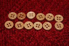 AFFARE - 12 x ROUND pulsanti in legno - 4 FORI 11 MM-naturale