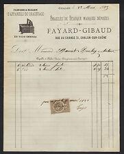 "CHALON-sur-SAONE (71) USINE d'APPAREILS DE CHAUFFAGE ""FAYARD & GIBAUD"" en 1881"