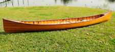 Cedar Wood Strip Built Canoe Wooden Boat 18' w/ Ribs Woodenboat Usa