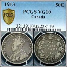 1913 Canada Silver 50 Cents PCGS VG10 George V Half Dollar 50C Toned Coin
